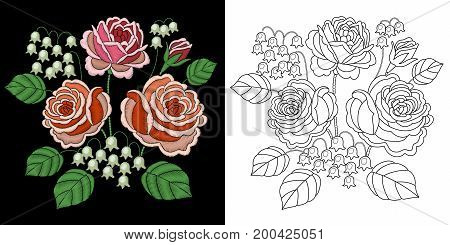 Embroidery design. Collection of fancywork elements for patches and stickers. Coloring book page with rose and bluebell flowers.