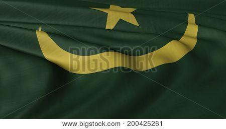 3D illustration of Mauritanian flag fluttering in light breeze