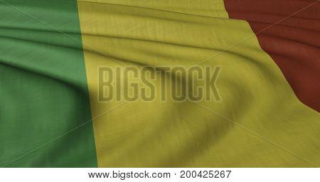 3D illustration of Mali flag fluttering in light breeze