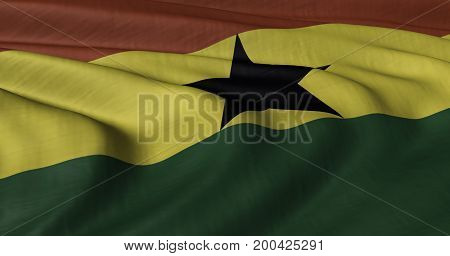 3D illustration of Ghanaian flag fluttering in light breeze