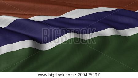 3D illustration of Gambia flag fluttering in light breeze