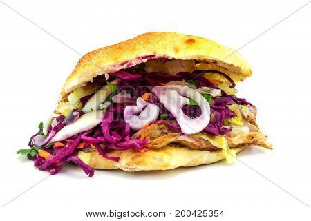 Doner Kebab tasty turkish fastfood on white background