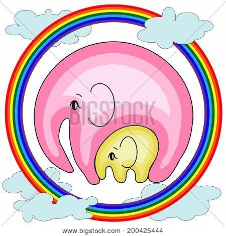 Elephant with an elephant on the clouds, on the rainbow. The concept of motherhood, caring, love, peace, tenderness