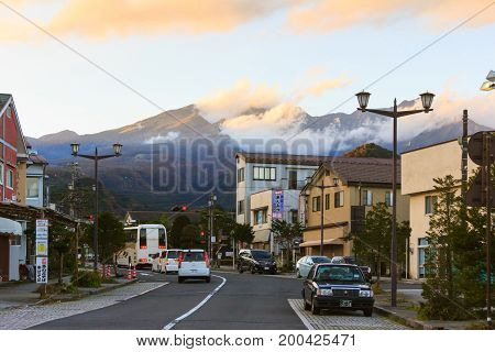 Nikko Japan - November 1 2016 : View of Nikko city in dawn evening time with mountain and cloud in background