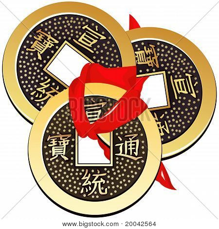 Vector Three Ancient Chinese Coins Feng Shui Tied With Red Ribbon