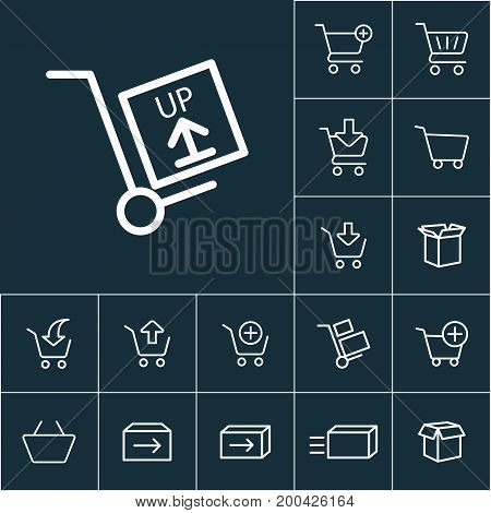 Thin Line Hand Truck Icon, Online Shopping Set