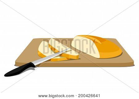 Slices of bread on cutting board with knife