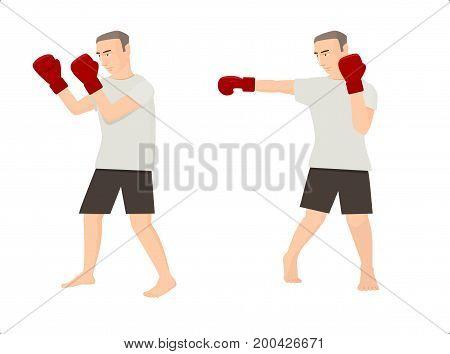 Set of two cartoon men doing boxing exercises