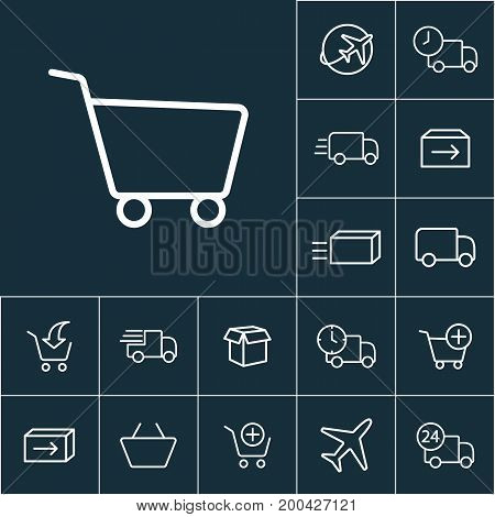 Thin Line Supermarket Trolley Icon, Online Shopping Set