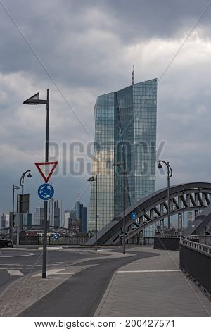 FRANKFURT, GERMANY-JULY 14, 2017: The new seat of the European Central Bank in Frankfurt am Main