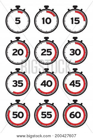 Timer line icons. Timer icons set. Vector illustration
