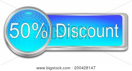 glossy blue 50% Discount button - 3D illustration