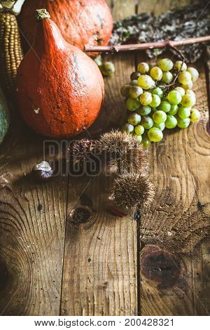 Thanksgiving dinner. Autumn fruit with copyspace. Thanksgiving autumn background