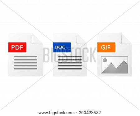 Gif  pdf and doc  file format  icon set  computer document symbols download