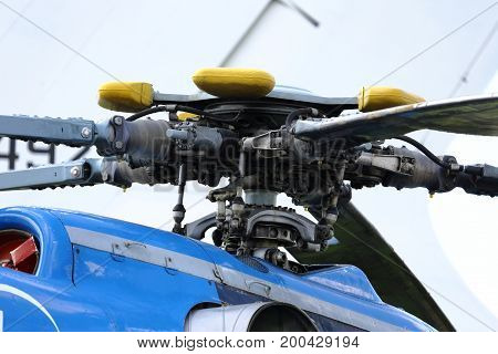 A military helicopter the blades of a helicopter. case engine helicopters turbine.