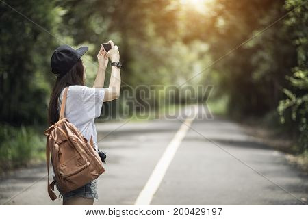 Outdoor Summer Smiling Lifestyle Portrait Of Pretty Young Woman Having Fun With Camera Travel Photo