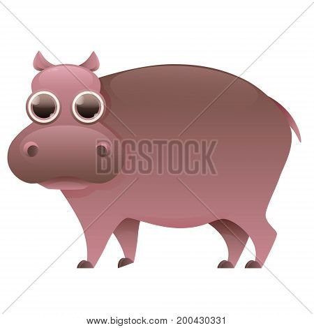 Hippo cute cartoon character isolated on white background. Vector illustration