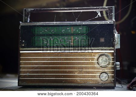 Old vintage radio with lots of natural light.