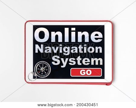 Tablet screen with compass for Navigation system