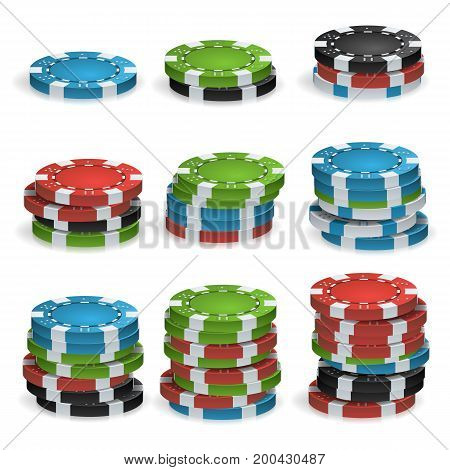 Poker Chips Stacks Vector. Plastic. White, Red, Black, Blue, Green Casino Chips Illustration. Poker Game Chips Isolated On White Background Illustration.