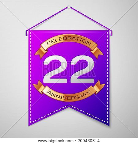 Realistic Purple pennant with inscription Twenty two Years Anniversary Celebration Design on grey background. Golden ribbon. Colorful template elements for your birthday party. Vector illustration