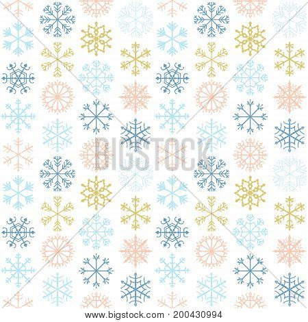 Vector seamless pattern with geometric snowflakes in blue pink and gold colors for winter and Christmas paper products and greeting card backgrounds