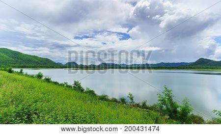 Huai Mai Tai Reservoir in a beautiful day Phetchaburi Thailand