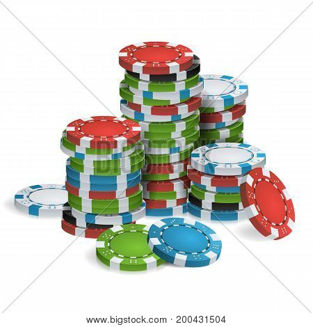 Gambling Chips Stacks Vector. 3D Realistic. Poker Game Chips Isolated On White Background Illustration.