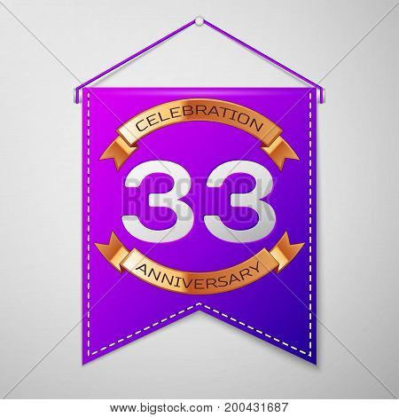 Realistic Purple pennant with inscription Thirty three Years Anniversary Celebration Design on grey background. Golden ribbon. Colorful template elements for your birthday party. Vector illustration