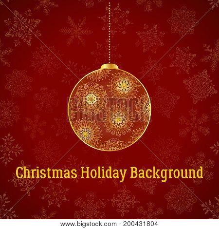 Holiday Christmas Background, Golden Decorated Ball on Red Pattern with Snowflakes, Illustration for Your Design. Eps10, Contains Transparencies. Vector