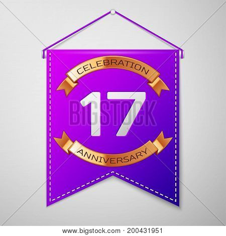 Realistic Purple pennant with inscription Seventeen Years Anniversary Celebration Design on grey background. Golden ribbon. Colorful template elements for your birthday party. Vector illustration