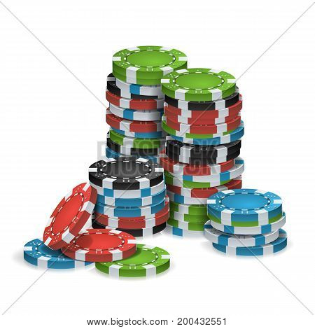 Gambling Poker Chips Stacks Vector. Realistic. Classic Colored Poker Chips Icon Isolated On White Illustration. For Online Casino, Gambling Club, Poker, Billboard.