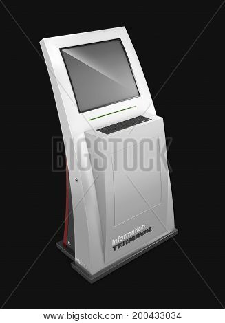 Realistic Interactive Information Kiosk Terminal Stand, 3D Illustration