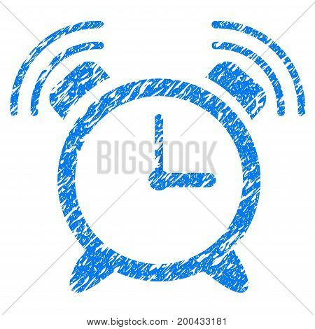 Grunge Alarm Clock Ring icon with grunge design and dust texture. Unclean vector blue pictogram for rubber seal stamp imitations and watermarks. Draft sign symbol.