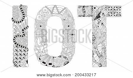 Hand-painted art design. Adult anti-stress coloring page. Black and white hand drawn illustration abbreviation IOT for coloring book