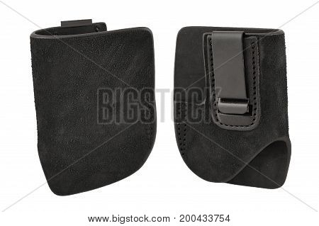 A Tactical Leather Holster Without Gun. Isolated