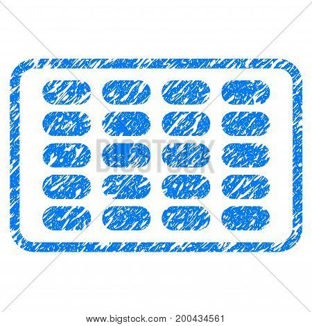 Grunge Blister icon with grunge design and dirty texture. Unclean vector blue pictogram for rubber seal stamp imitations and watermarks. Draft sticker symbol.