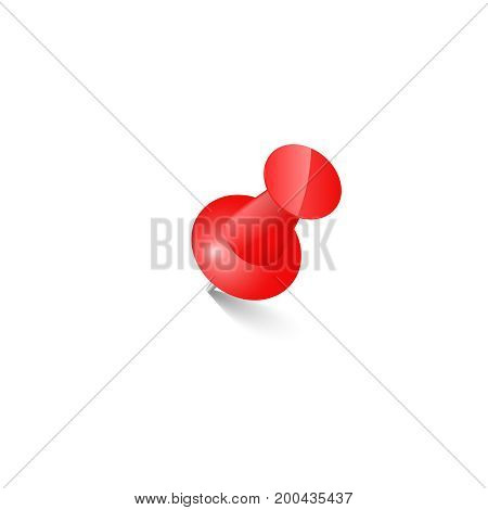 red push pin Thumbtack  Top view vector