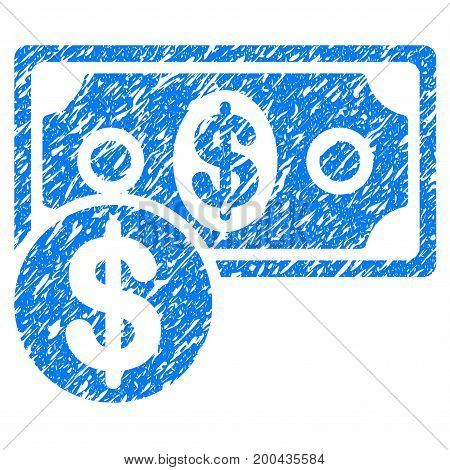 Grunge Cash icon with grunge design and dirty texture. Unclean vector blue pictogram for rubber seal stamp imitations and watermarks. Draft sticker symbol.