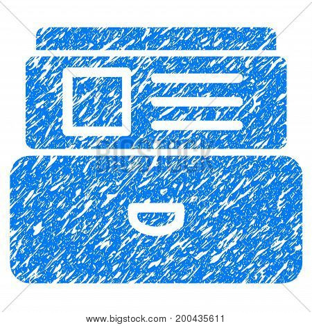 Grunge Catalog icon with grunge design and unclean texture. Unclean vector blue pictogram for rubber seal stamp imitations and watermarks. Draft sign symbol.
