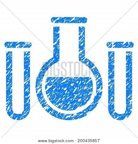 Grunge Chemical Vessels icon with grunge design and scratched texture. Unclean vector blue pictogram for rubber seal stamp imitations and watermarks. Draft sign symbol.