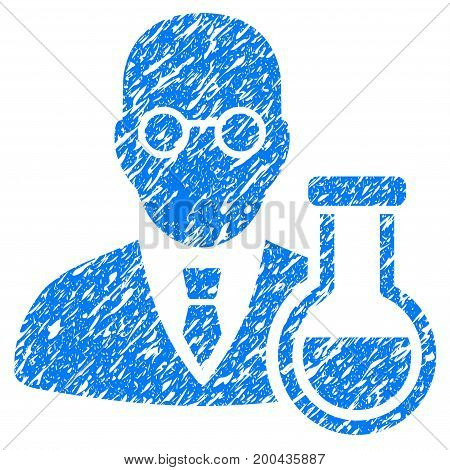 Grunge Chemist icon with grunge design and scratched texture. Unclean vector blue pictogram for rubber seal stamp imitations and watermarks. Draft sticker symbol.