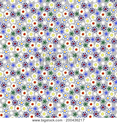 Cute tiny flowers and decorative elements on light grey background seamless pattern millefiori summer ethnic theme. Kids girly feminine.