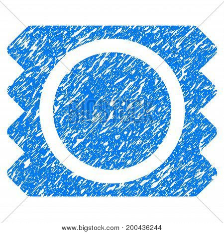 Grunge Condom icon with grunge design and dirty texture. Unclean vector blue pictogram for rubber seal stamp imitations and watermarks. Draft sign symbol.