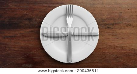 Place Setting, Second Plate Signal, On Wooden Background. 3D Illustration