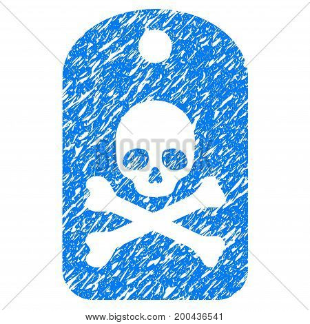 Grunge Death Sticker icon with grunge design and scratched texture. Unclean vector blue pictogram for rubber seal stamp imitations and watermarks. Draft sign symbol.
