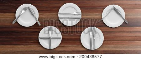Place Settings, Waiter Signals On Wooden Background. 3D Illustration