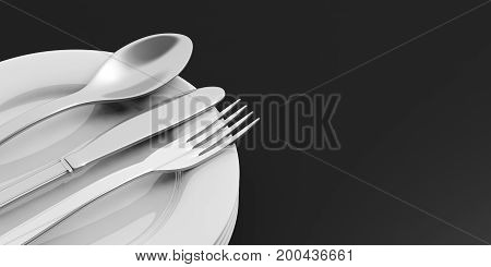 Stack Of Plates And Cutlery On Black Background. 3D Illustration