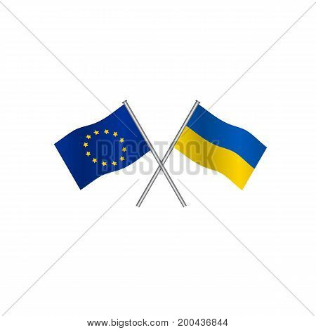 Crossing flags of Europe Union and Ukraine candidate to entry in EU. Concept of cooperation between the two countries