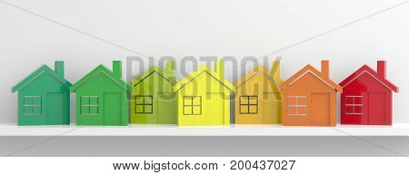 Energy Efficiency And Houses Concept. 3D Illustration